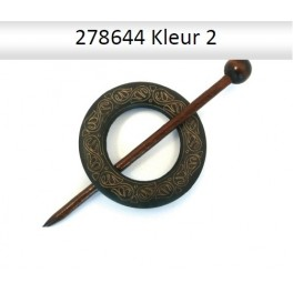 Shawl Pin hout rond 278644 (donker)