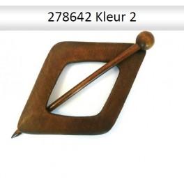Shawl Pin hout ruit  278642 (donker)