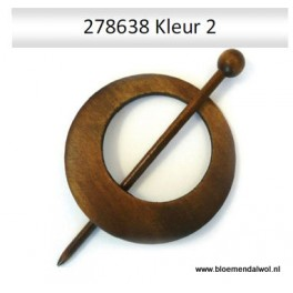 Shawl pin rond 8 cm donker
